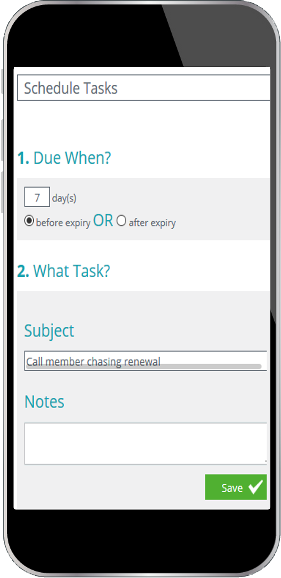 Mobile display showing scheduled task snippet