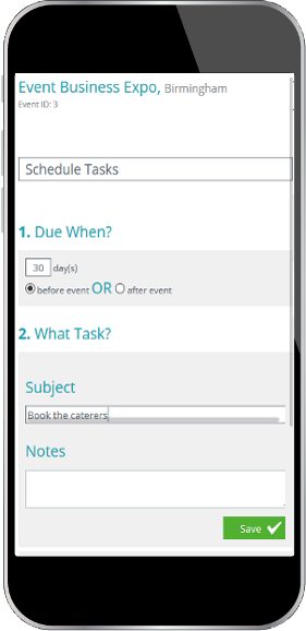 Mobile display showing event scheduled task snippet