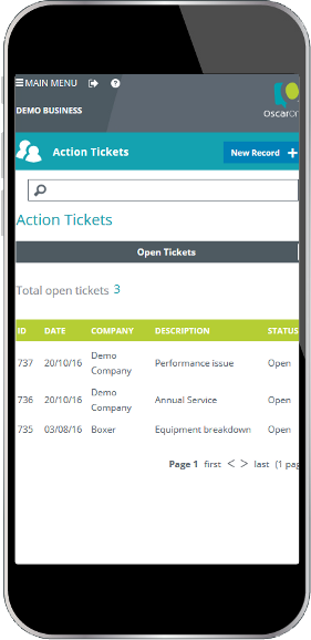 Mobile display showing action ticket list snippet