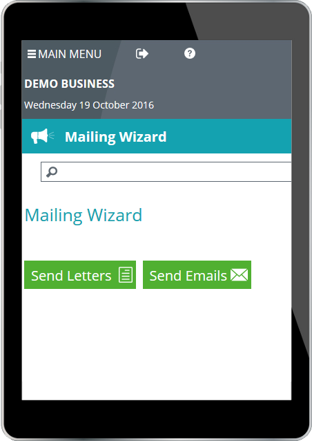 OscarOnline mailing wizard snippet on tablet display